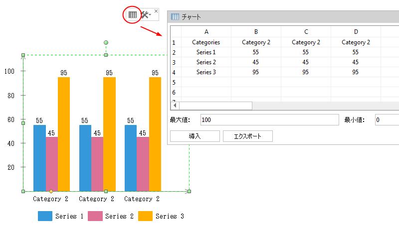 縦棒グラフデータを編集