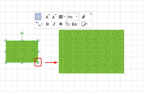 ガーデンデザインイラストのサイズを調節する