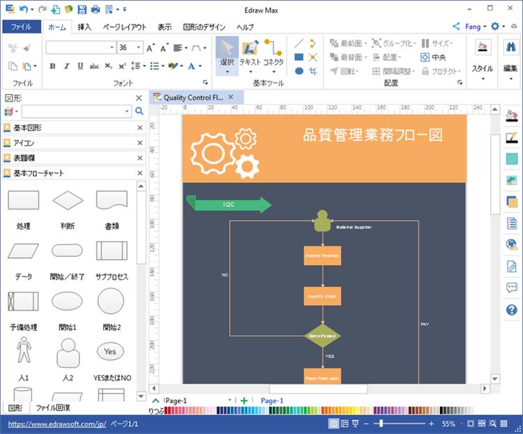 品質管理業務フロー図作成ソフト