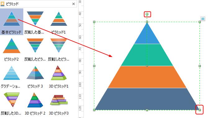 ピラミッド図素材をドラッグ&ドロップする