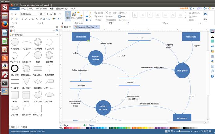 データフロー図作成ツール Linux