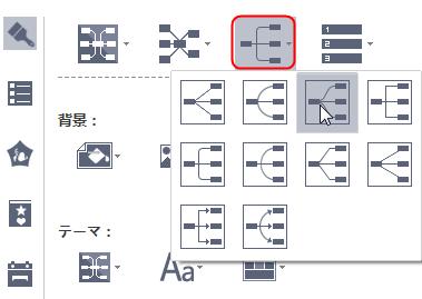 マインドマップのコネクタースタイルを変更