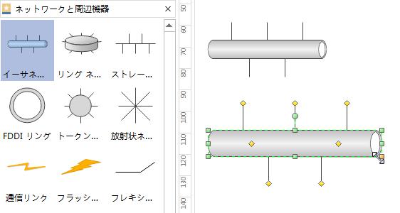 ネットワーク図形の添加