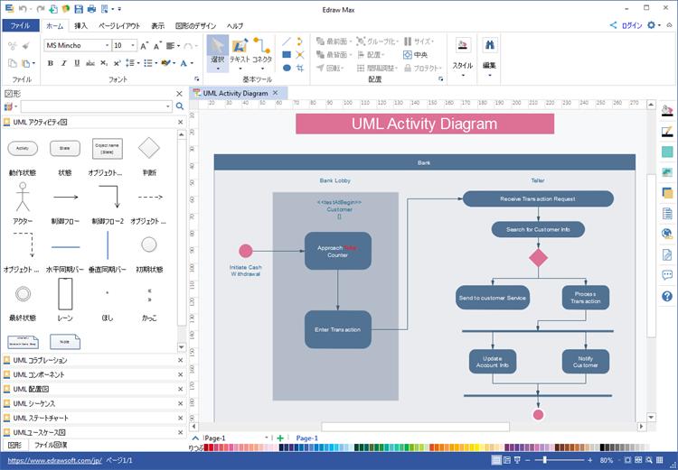 UMLアクティビティ図ツール