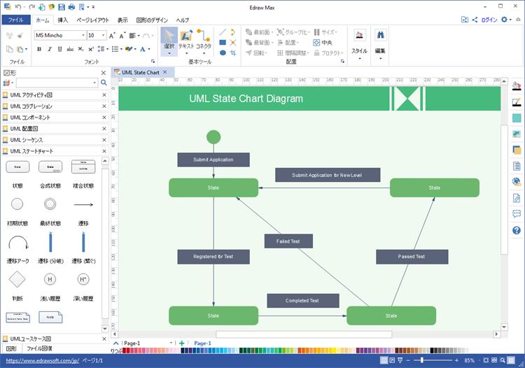 UML状態遷移図作成ソフト