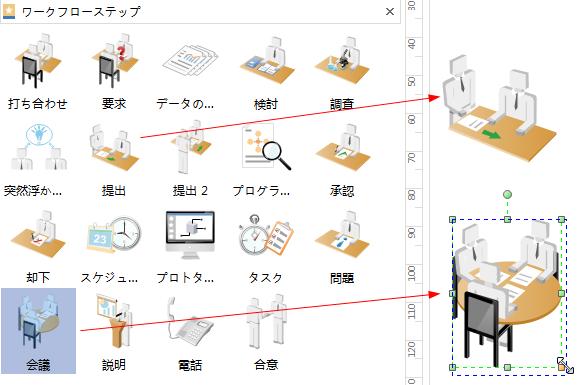 ワークフロー図形の添加