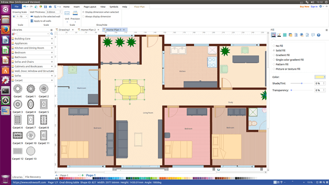 sweet floor plan software for linux design floor plan and arrange furniture quickly. Black Bedroom Furniture Sets. Home Design Ideas