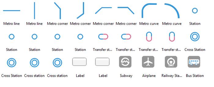 Symboles de plan de métro
