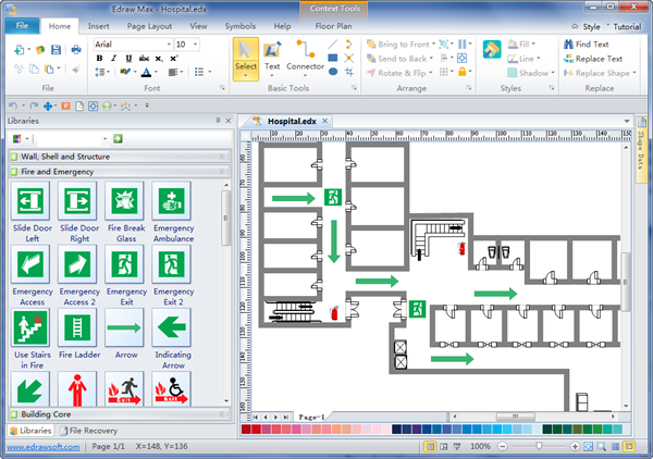 Emergency Evacuation on Factory Layout Design Floor Plan