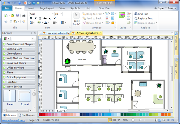 Office planning software office space plan appealing for Commercial space planning software