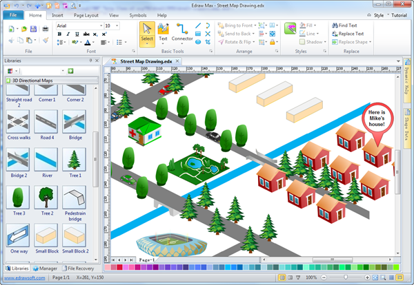 Easy street map drawing software make map directions for Easy plan drawing software