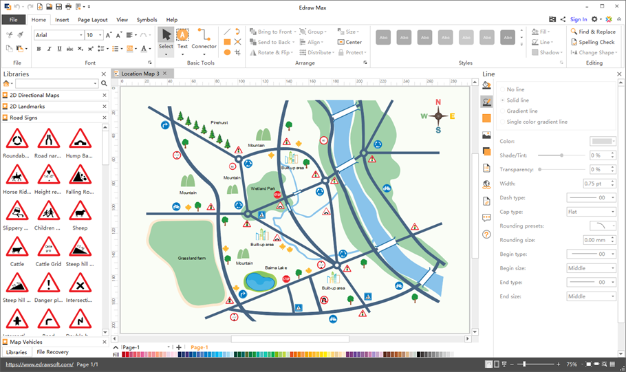 Map software draw versatile maps easily for Map drawing program