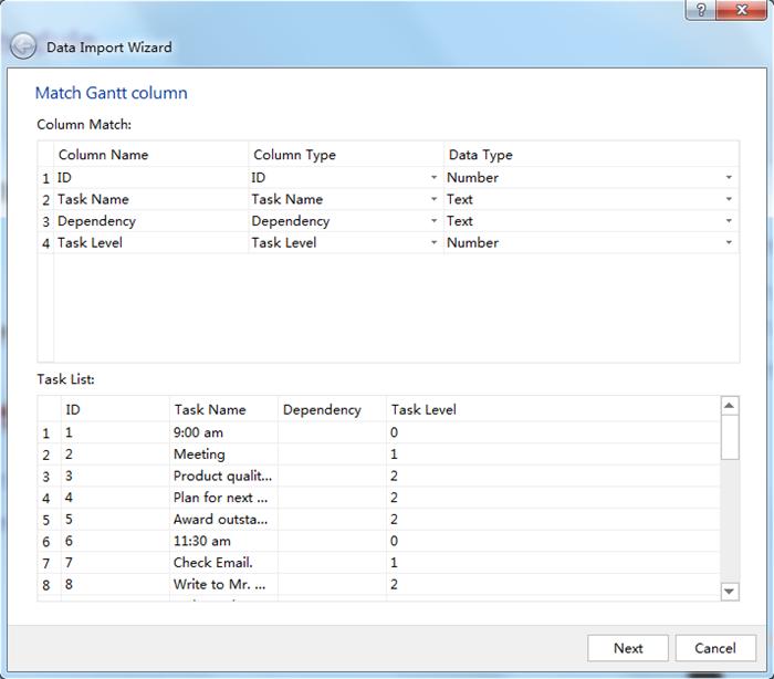 Gantt Colum Settings When Export Mind Map to Gantt Chart