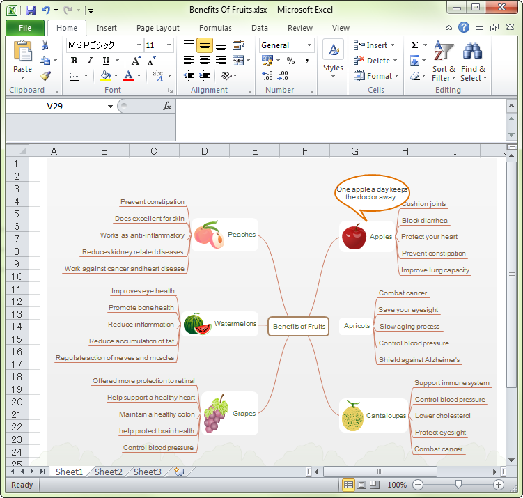 how to export a mind map to excel