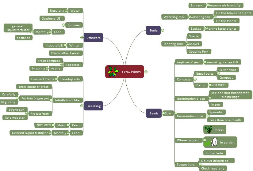 mapa mental cultivar plantas saludables