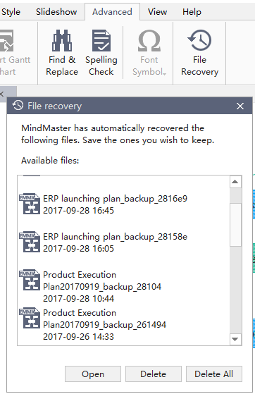 file recovery function