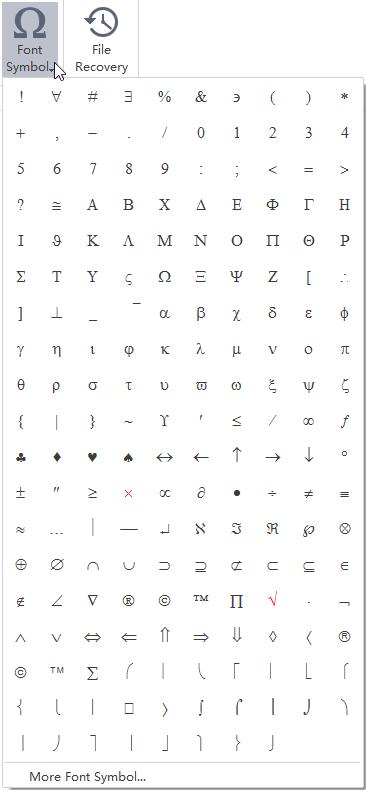 Símbolos de tipo de letra MindMaster