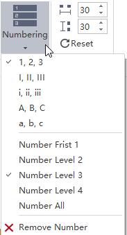 Mapa mental de panel numérico