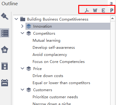 outline export options