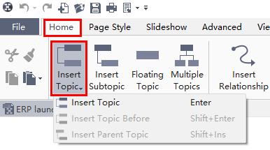 insert your topics in mindmaster 6.0