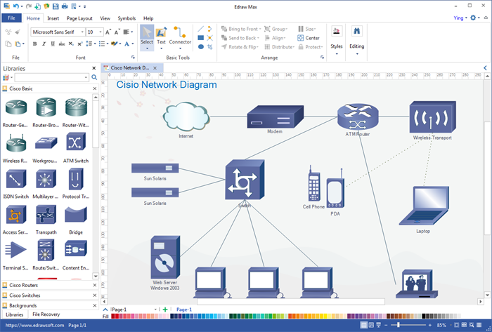network diagram windows interface