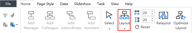 Layout button in Home tab