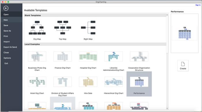 OrgCharting Mac interface