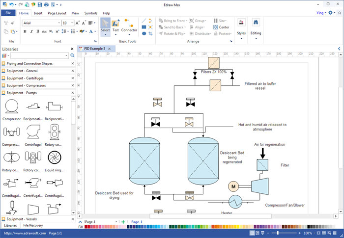 process flow diagram software edraw max user interface