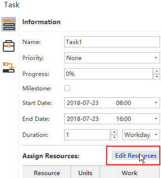 Edit resources in side panel