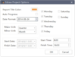 edraw project options window