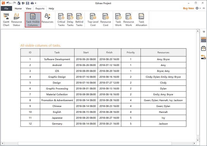Task visible columns report