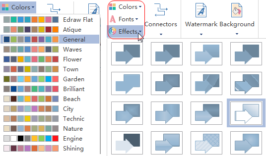 change theme color, font or effect
