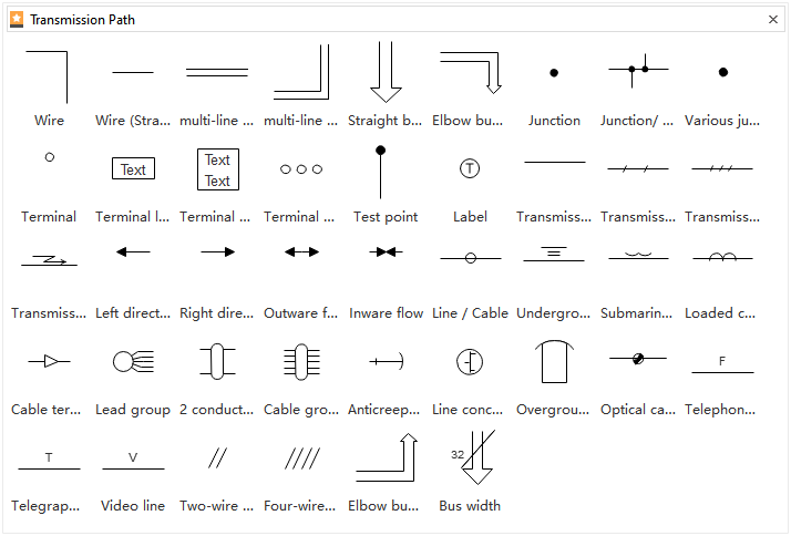 Electrical Diagram Symbols - Transmission Path