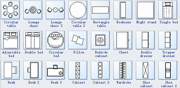 Floor Plan Symbols : furniture 2 from www.edrawsoft.com size 600 x 295 png 123kB