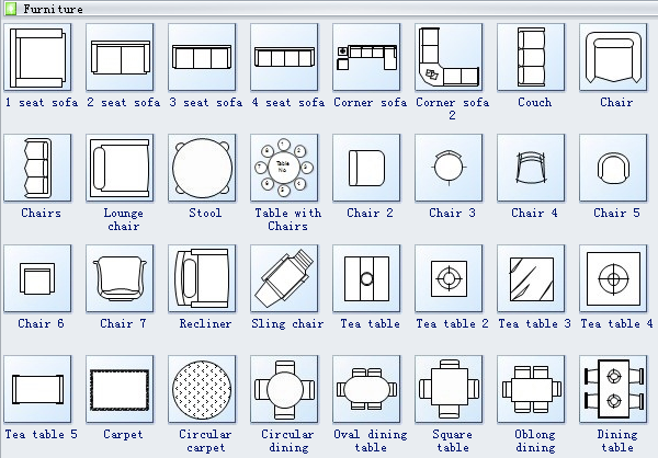 Furniture on architectural electrical symbols chart