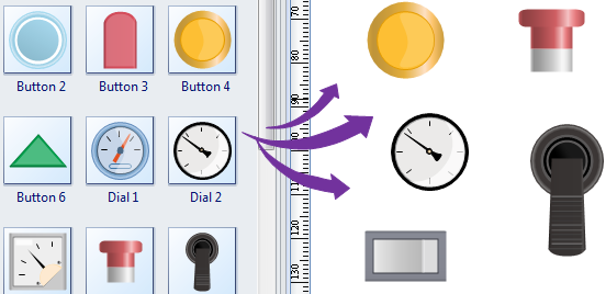 Drag Push Button Symbols