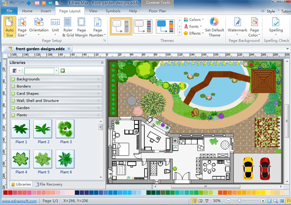 2d floor plan drawing software for Garden design application