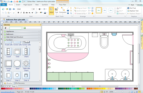Bathroom floor planner for Software for planning room layouts