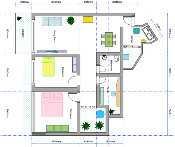 above is a simple house floor plan drawn via house design software