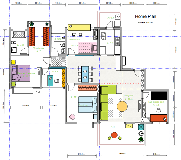 3 bedroom home blueprint example - Home Blueprints