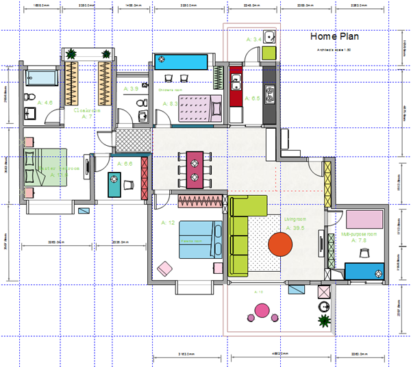 House floor plan design House drawing plan layout