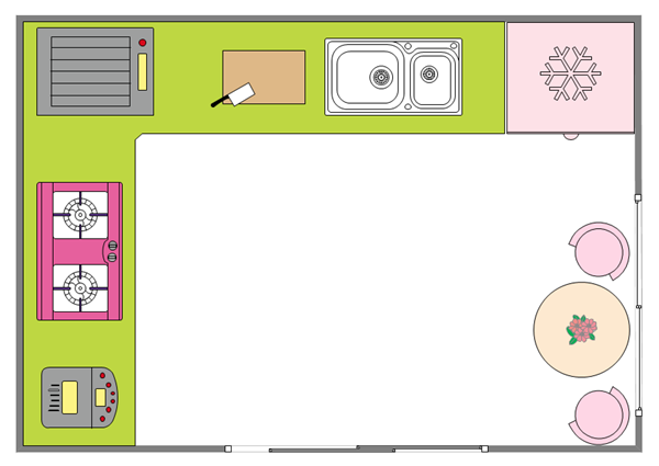 Workflow Planning In The Kitchen. Kitchen Floor Plan Example