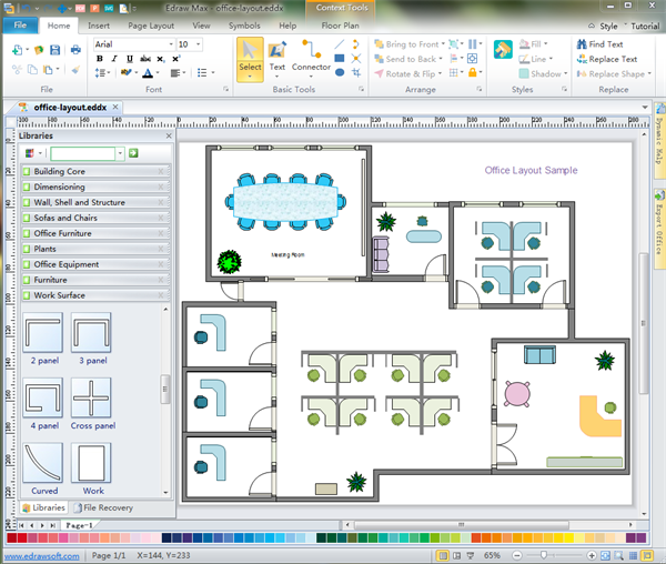 above is an office floor plan drawn via office floor plan software