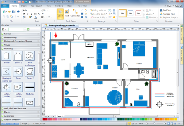 Plumbing and piping plan software Blueprint designer free