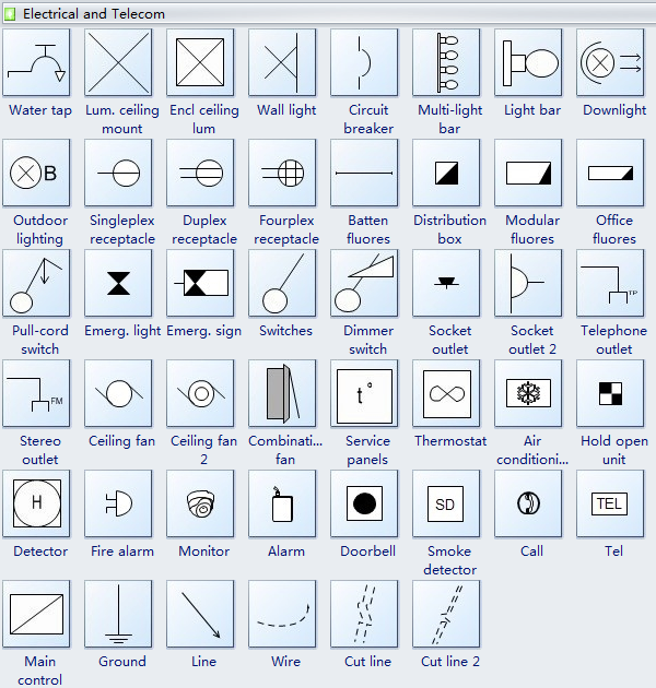Reflected Ceiling Plan Symbols