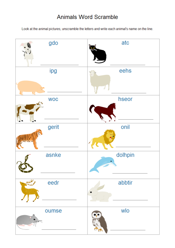 Animal Worksheet Template