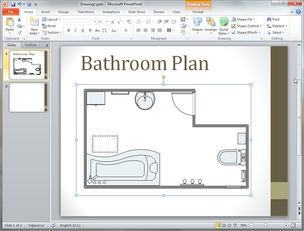 Bathroom plan templates for powerpoint for Bathroom design template