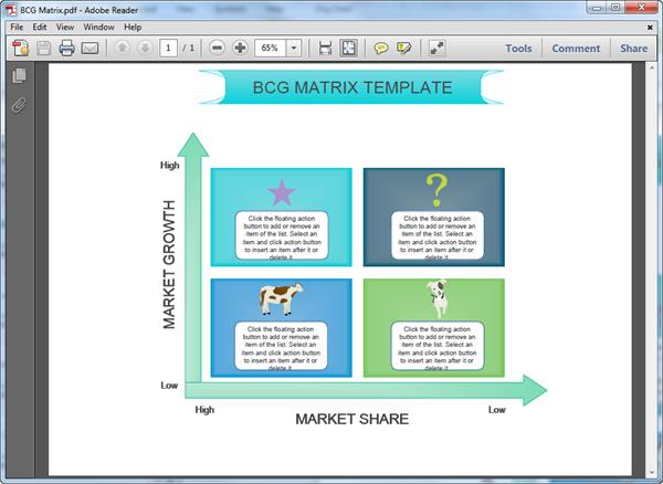 Modèle de matrice BCG au format PDF