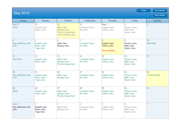 calendar plan examples and templates