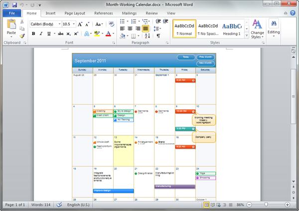 Calendar Templates For Word